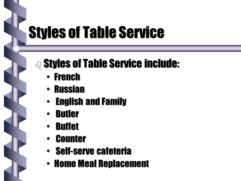 Styles of Table Service Type of Service in particular restaurant is best defined by desired target market. Type of Service in particular restaurant is best defined by desired target market. Type of Service defined by consistency in menu, décor, uniforms, table settings, ambiance and cuisineType of Service defined by consistency in menu, décor, uniforms, table settings, ambiance and cuisine