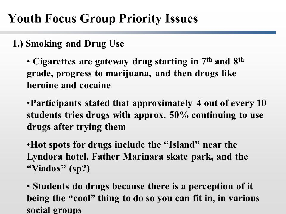 Youth Focus Group Priority Issues 1.) Smoking and Drug Use Cigarettes are gateway drug starting in 7 th and 8 th grade, progress to marijuana, and the