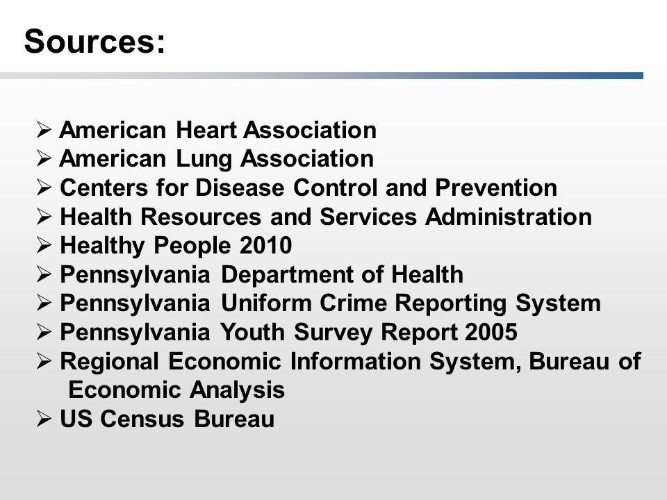 Sources:  American Heart Association  American Lung Association  Centers for Disease Control and Prevention  Health Resources and Services Administration  Healthy People 2010  Pennsylvania Department of Health  Pennsylvania Uniform Crime Reporting System  Pennsylvania Youth Survey Report 2005  Regional Economic Information System, Bureau of Economic Analysis  US Census Bureau