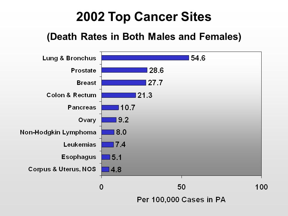 2002 Top Cancer Sites (Death Rates in Both Males and Females)