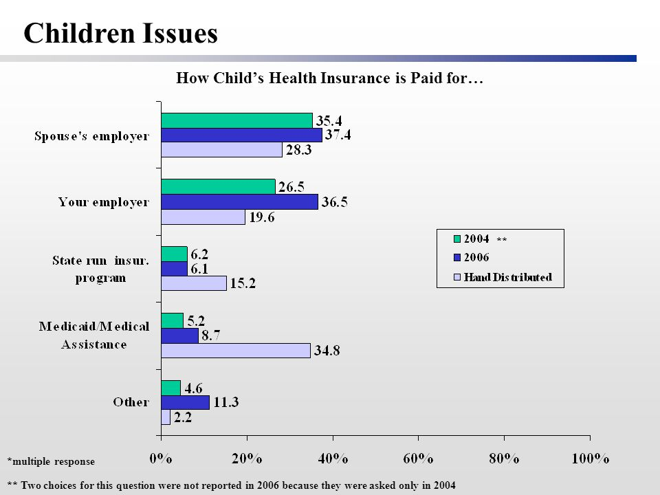 * How Child's Health Insurance is Paid for… *multiple response ** Two choices for this question were not reported in 2006 because they were asked only in 2004 * Children Issues