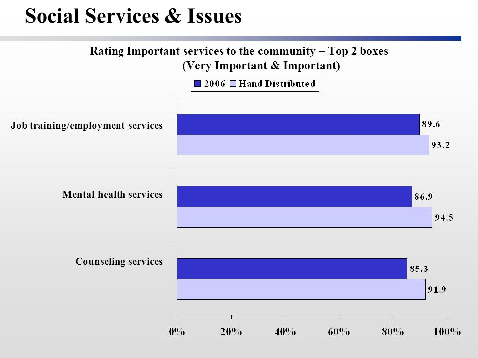 Rating Important services to the community – Top 2 boxes (Very Important & Important) Job training/employment services Mental health services Counseling services Social Services & Issues