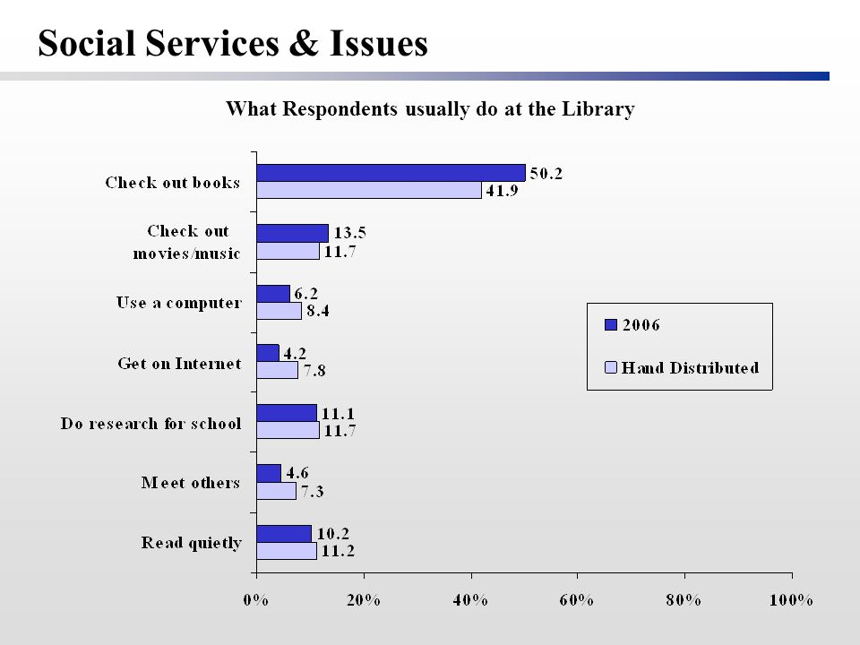 What Respondents usually do at the Library Social Services & Issues