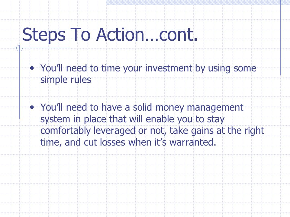 Steps To Action…cont.