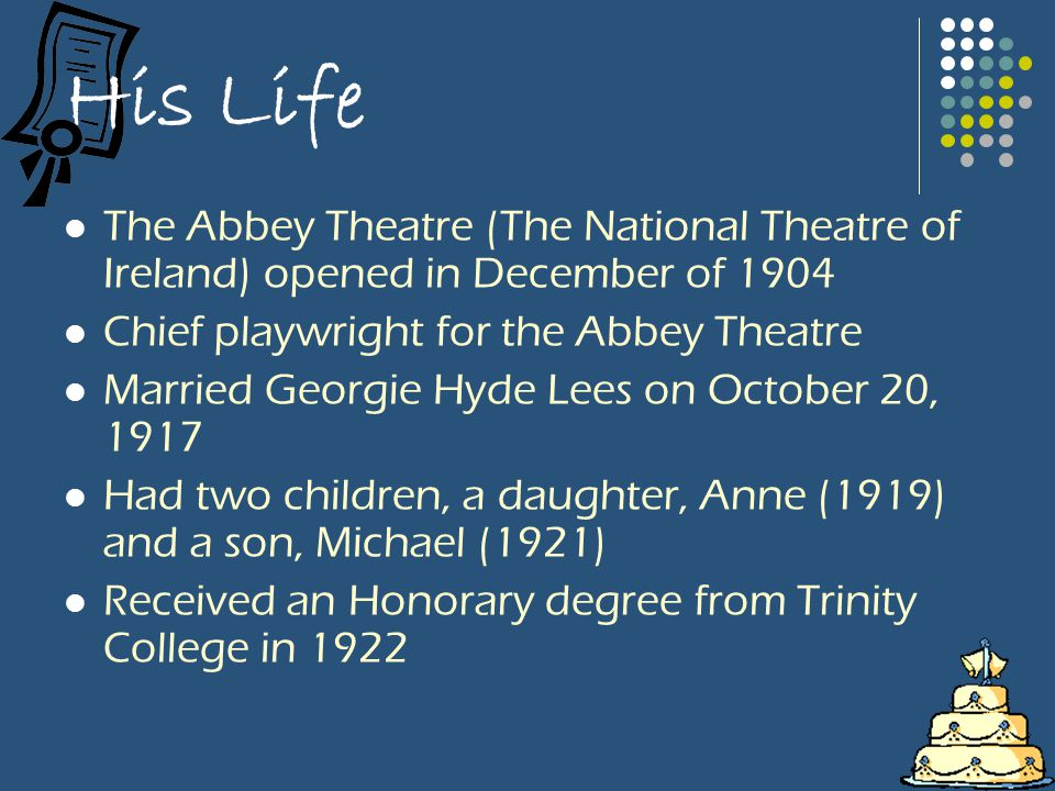 His Life The Abbey Theatre (The National Theatre of Ireland) opened in December of 1904 Chief playwright for the Abbey Theatre Married Georgie Hyde Lees on October 20, 1917 Had two children, a daughter, Anne (1919) and a son, Michael (1921) Received an Honorary degree from Trinity College in 1922