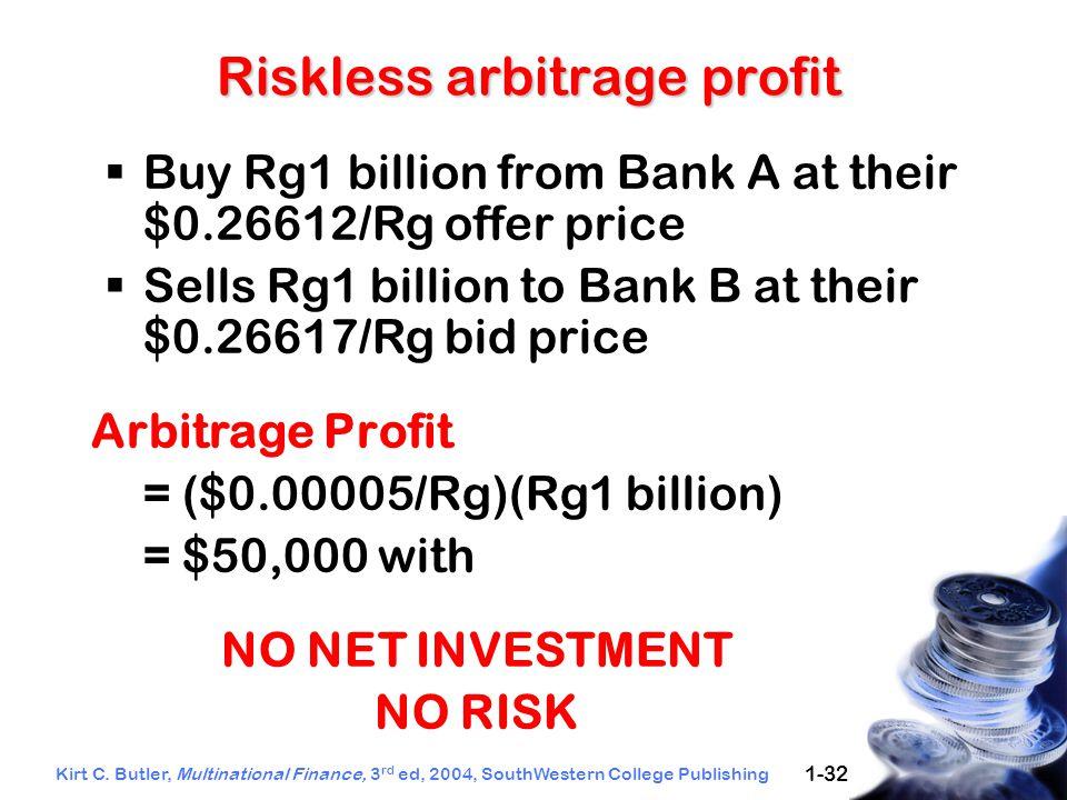 Kirt C. Butler, Multinational Finance, 3 rd ed, 2004, SouthWestern College Publishing 1-32 Riskless arbitrage profit  Buy Rg1 billion from Bank A at