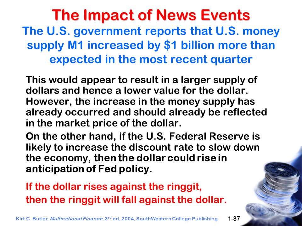 Kirt C. Butler, Multinational Finance, 3 rd ed, 2004, SouthWestern College Publishing 1-37 The Impact of News Events The Impact of News Events The U.S