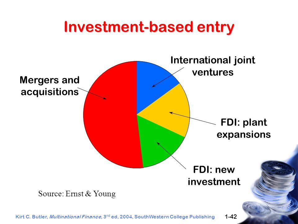 Kirt C. Butler, Multinational Finance, 3 rd ed, 2004, SouthWestern College Publishing 1-42 Investment-based entry International joint ventures Mergers