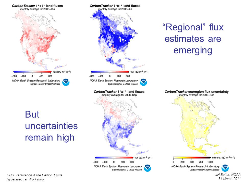 "GHG Verification & the Carbon Cycle Hyperspectral Workshop JH Butler, NOAA 31 March 2011 ""Regional"" flux estimates are emerging But uncertainties rema"