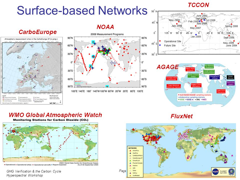GHG Verification & the Carbon Cycle Hyperspectral Workshop JH Butler, NOAA 31 March 2011 Page 7 Surface-based Networks CarboEurope WMO Global Atmosphe