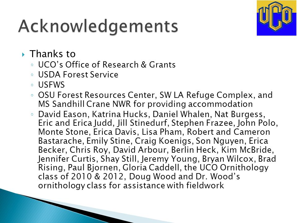  Thanks to ◦ UCO's Office of Research & Grants ◦ USDA Forest Service ◦ USFWS ◦ OSU Forest Resources Center, SW LA Refuge Complex, and MS Sandhill Cra