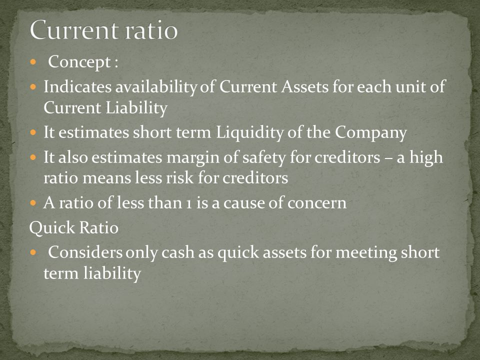 Concept : Indicates availability of Current Assets for each unit of Current Liability It estimates short term Liquidity of the Company It also estimat