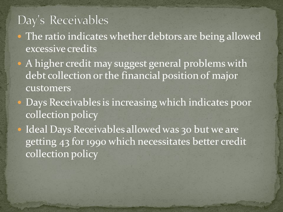 The ratio indicates whether debtors are being allowed excessive credits A higher credit may suggest general problems with debt collection or the financial position of major customers Days Receivables is increasing which indicates poor collection policy Ideal Days Receivables allowed was 30 but we are getting 43 for 1990 which necessitates better credit collection policy