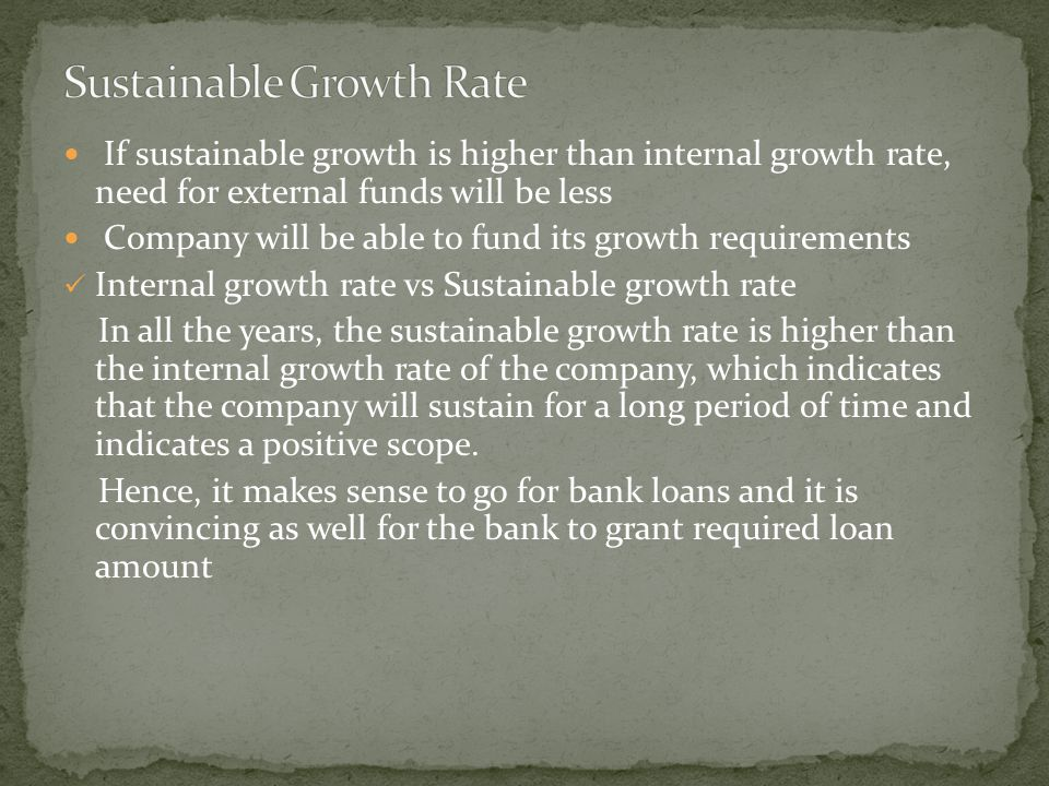 If sustainable growth is higher than internal growth rate, need for external funds will be less Company will be able to fund its growth requirements Internal growth rate vs Sustainable growth rate In all the years, the sustainable growth rate is higher than the internal growth rate of the company, which indicates that the company will sustain for a long period of time and indicates a positive scope.