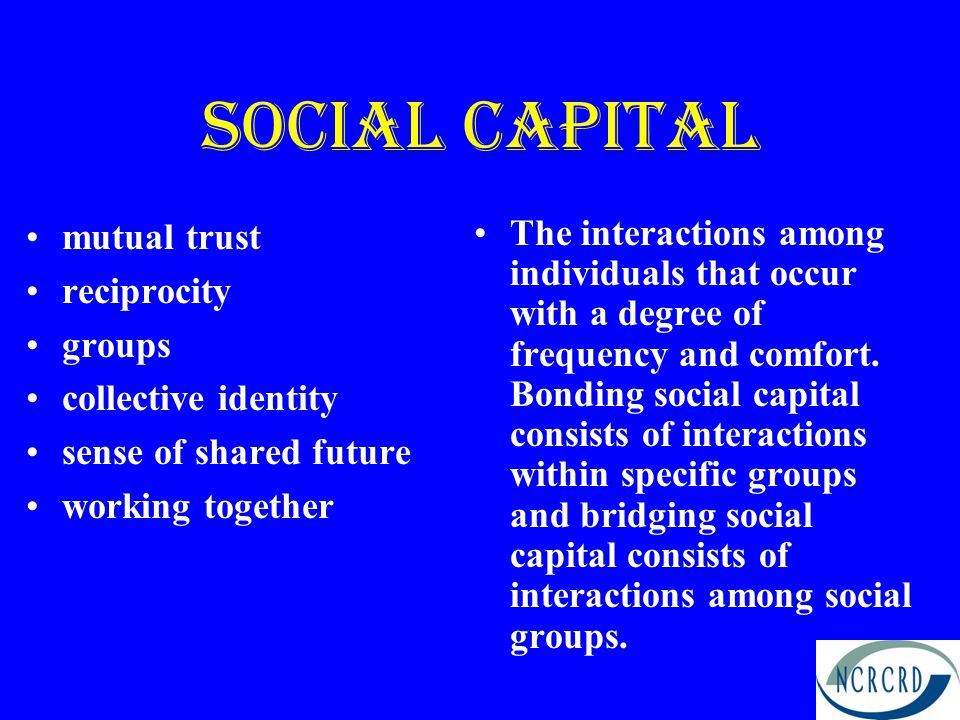 Social Capital Bonding –Tight, exclusive networks –Strong distinction between insiders and outsiders –Single answer focus Bridging –Open and flexible networks –Permeable and open boundaries –Legitimization of alternatives