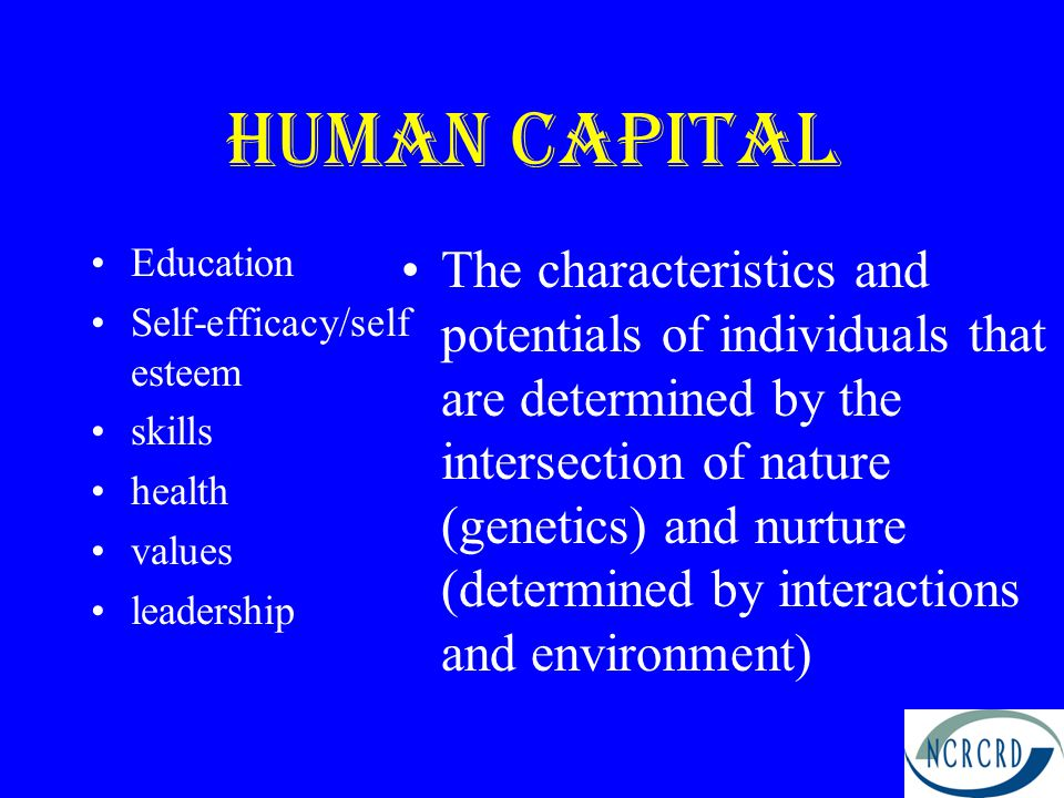 Human Capital Education Self-efficacy/self esteem skills health values leadership The characteristics and potentials of individuals that are determined by the intersection of nature (genetics) and nurture (determined by interactions and environment)