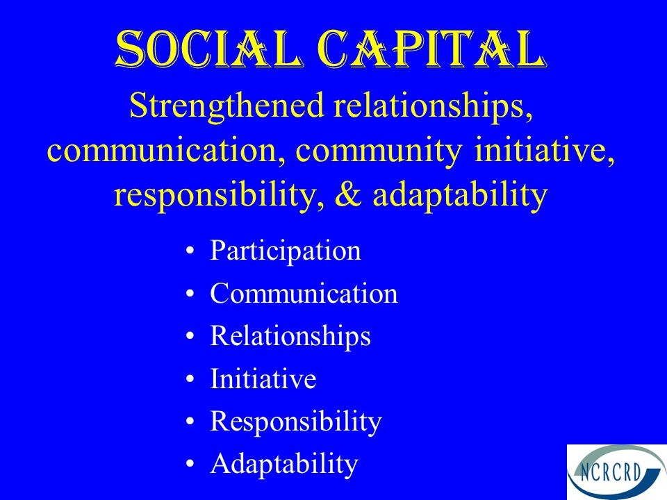 Social Capital Strengthened relationships, communication, community initiative, responsibility, & adaptability Participation Communication Relationships Initiative Responsibility Adaptability