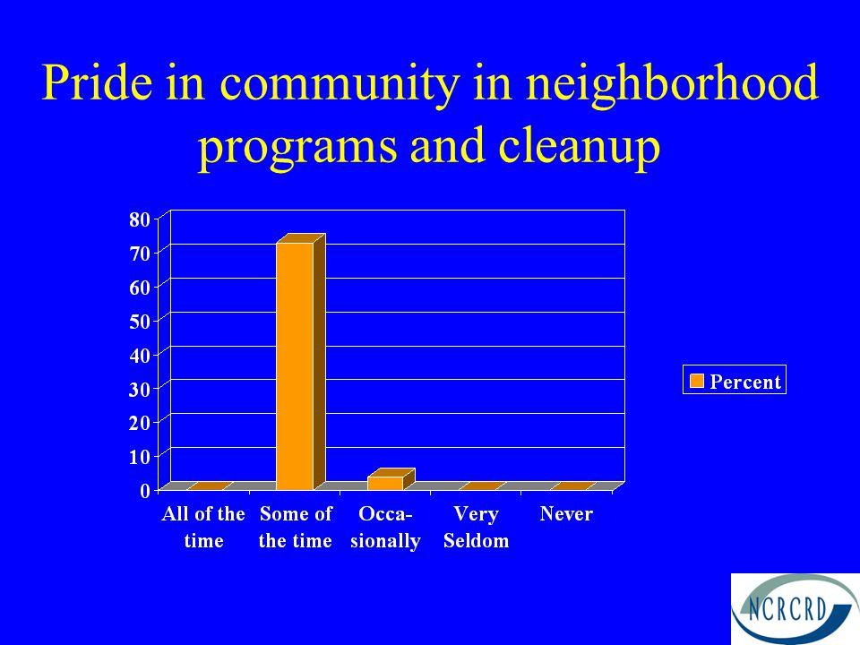 Pride in community in neighborhood programs and cleanup