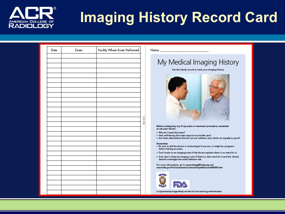 Imaging History Record Card