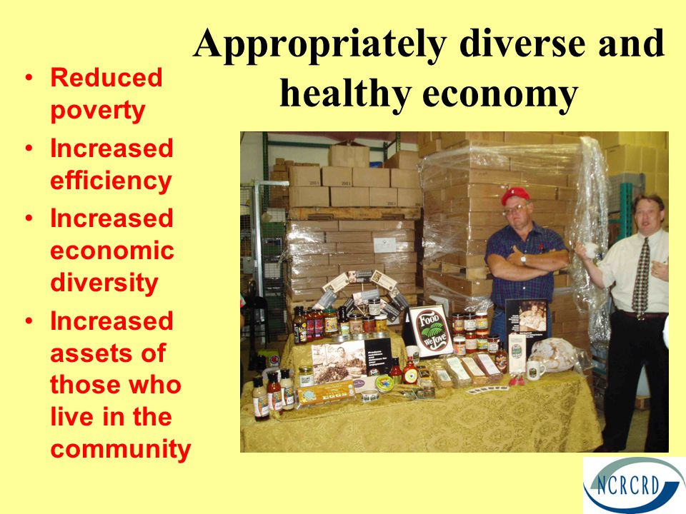 Appropriately diverse and healthy economy Reduced poverty Increased efficiency Increased economic diversity Increased assets of those who live in the