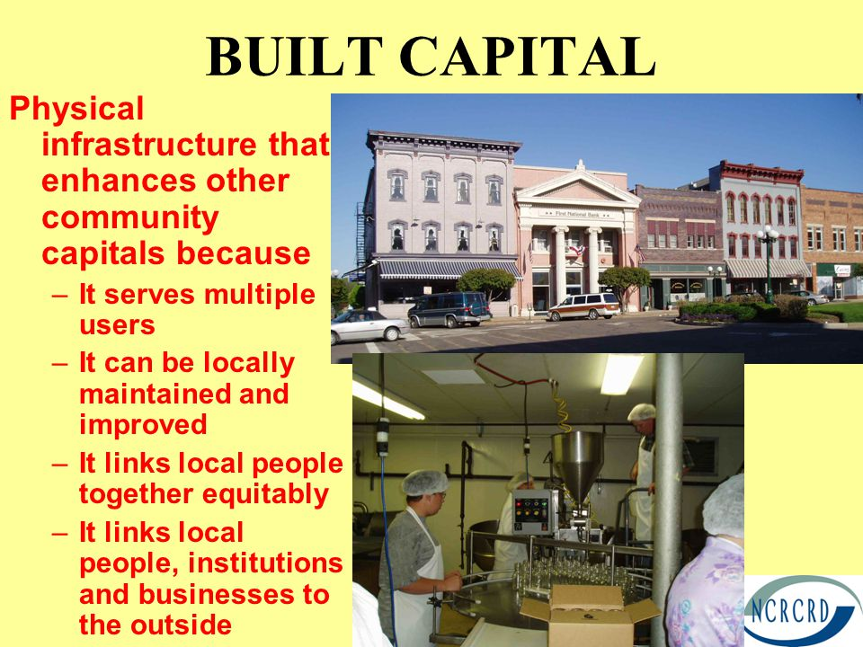 BUILT CAPITAL Physical infrastructure that enhances other community capitals because –It serves multiple users –It can be locally maintained and improved –It links local people together equitably –It links local people, institutions and businesses to the outside