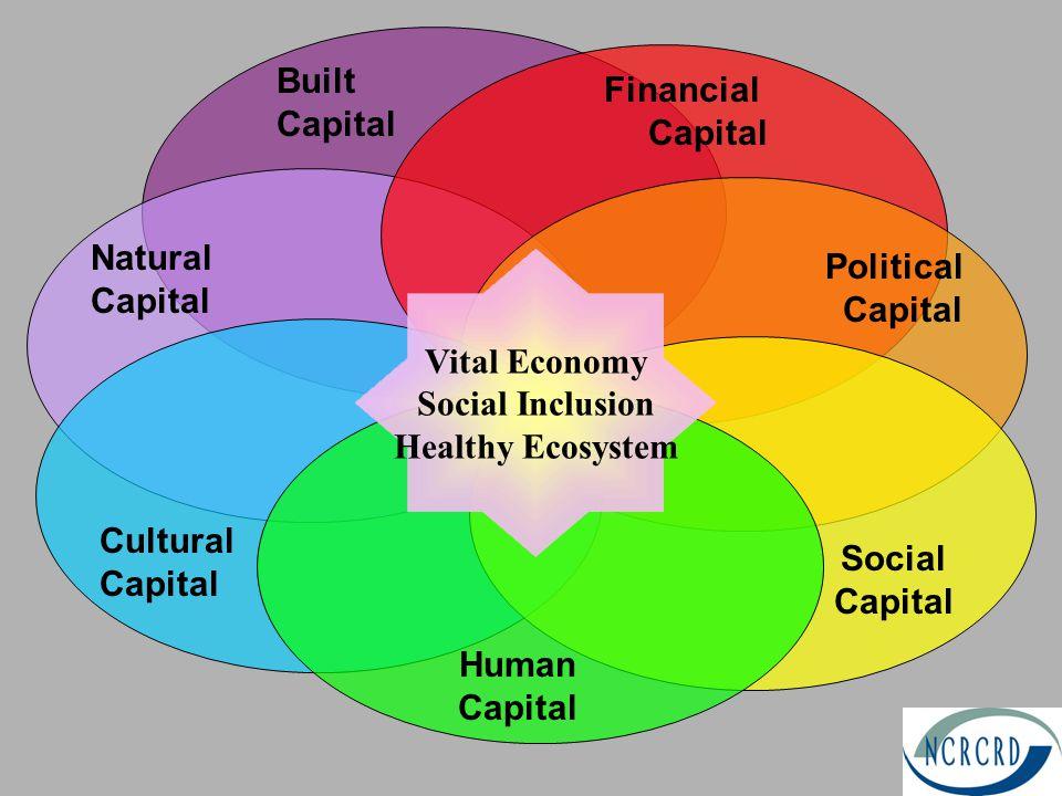 Political Capital Cultural Capital Natural Capital Human Capital Financial Capital Social Capital Built Capital Vital Economy Social Inclusion Healthy Ecosystem