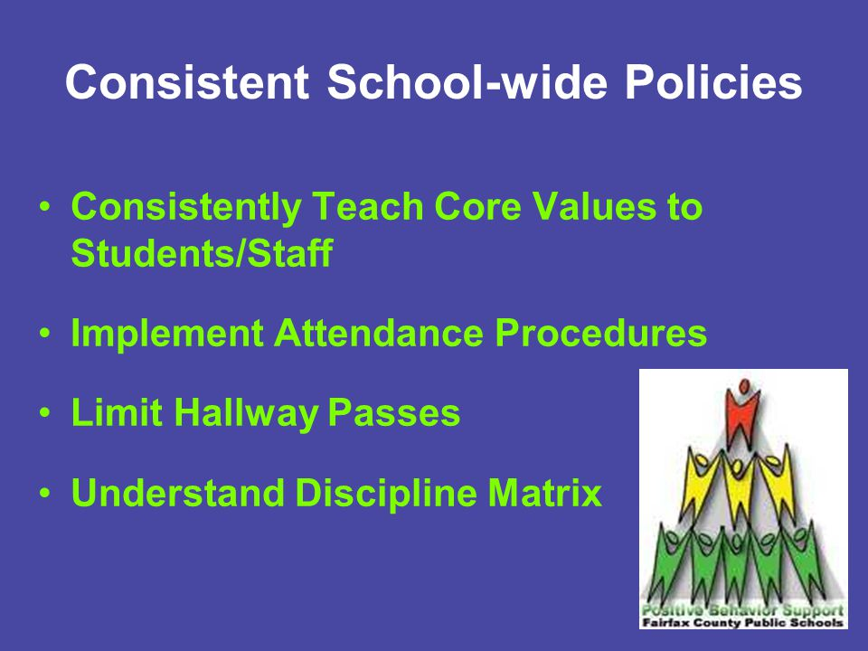 Consistent School-wide Policies Consistently Teach Core Values to Students/Staff Implement Attendance Procedures Limit Hallway Passes Understand Discipline Matrix