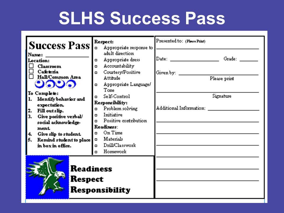 SLHS Success Pass: Business Card Size
