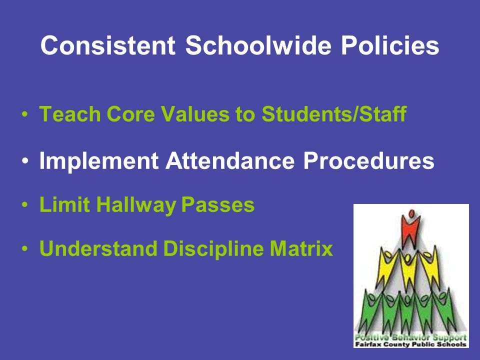 Implement Schoolwide Attendance Procedures Definition of Tardy: After the bell but fewer than 20 minutes late 1 st Tardy: Verbal warning 2 nd Tardy: Teacher discretion to assign detention 3 rd Tardy: Teacher notifies parent/administrator