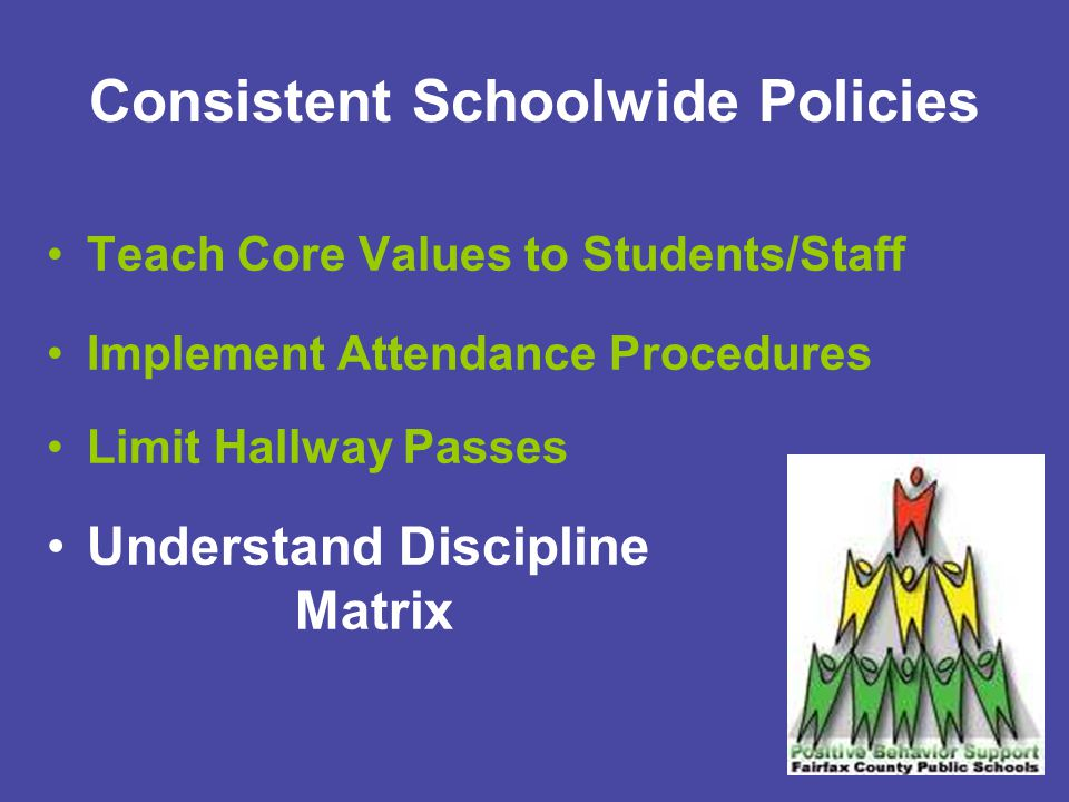 Consistent Schoolwide Policies Teach Core Values to Students/Staff Implement Attendance Procedures Limit Hallway Passes Understand Discipline Matrix