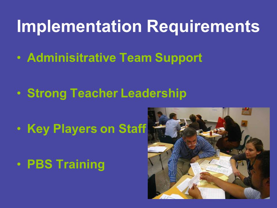 Implementation Requirements Adminisitrative Team Support Strong Teacher Leadership Key Players on Staff PBS Training