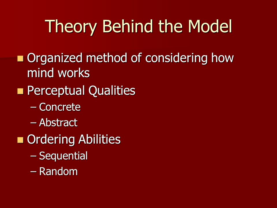 Theory Behind the Model Organized method of considering how mind works Organized method of considering how mind works Perceptual Qualities Perceptual