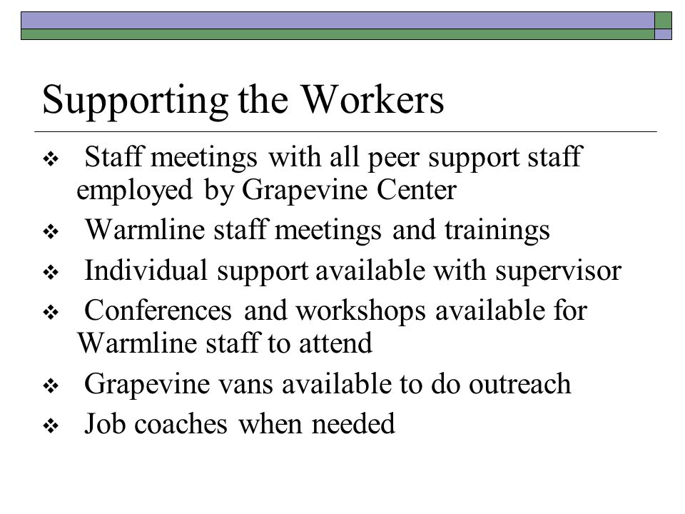 Supporting the Workers  Staff meetings with all peer support staff employed by Grapevine Center  Warmline staff meetings and trainings  Individual