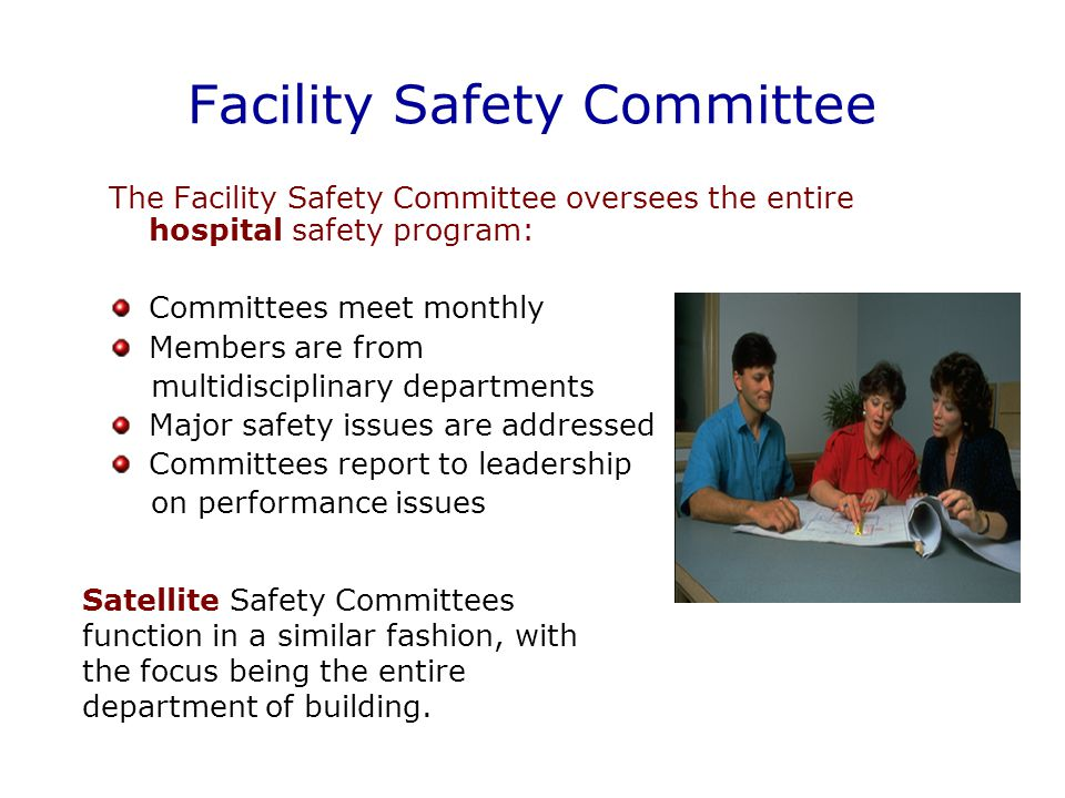 Facility Safety Committee The Facility Safety Committee oversees the entire hospital safety program: Committees meet monthly Members are from multidisciplinary departments Major safety issues are addressed Committees report to leadership on performance issues Satellite Safety Committees function in a similar fashion, with the focus being the entire department of building.
