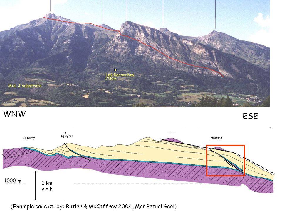 WNW ESE (Example case study: Butler & McCaffrey 2004, Mar Petrol Geol)