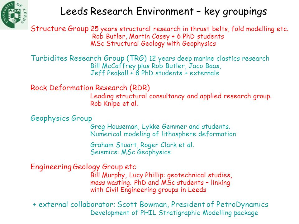 Leeds Research Environment – key groupings Structure Group 25 years structural research in thrust belts, fold modelling etc.