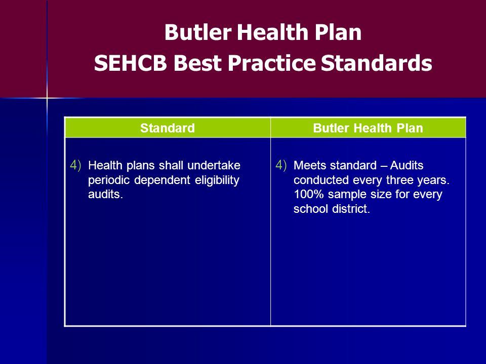 StandardButler Health Plan 4) Health plans shall undertake periodic dependent eligibility audits.