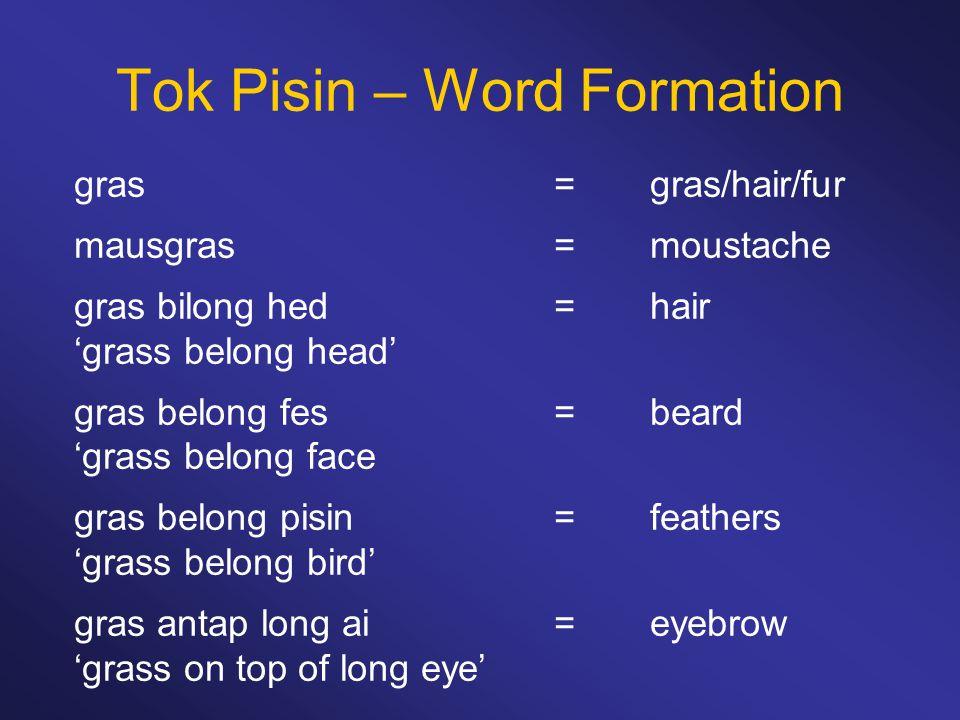 Tok Pisin – Word Formation gras=gras/hair/fur mausgras=moustache gras bilong hed=hair 'grass belong head' gras belong fes =beard 'grass belong face gr