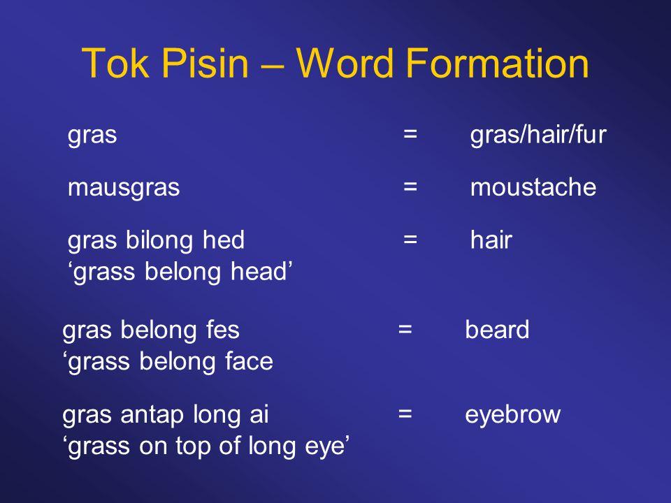 Tok Pisin – Word Formation mausgras=moustache gras=gras/hair/fur gras bilong hed=hair 'grass belong head' gras belong fes =beard 'grass belong face gr