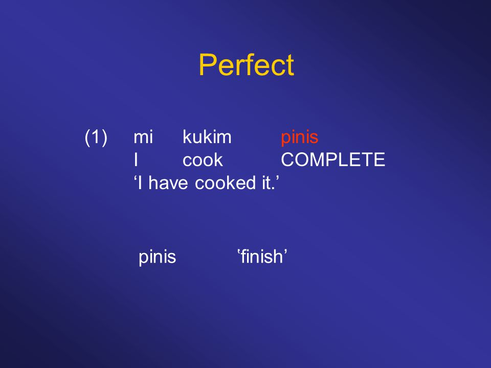 Perfect (1)mikukimpinis IcookCOMPLETE 'I have cooked it.' pinis'finish'