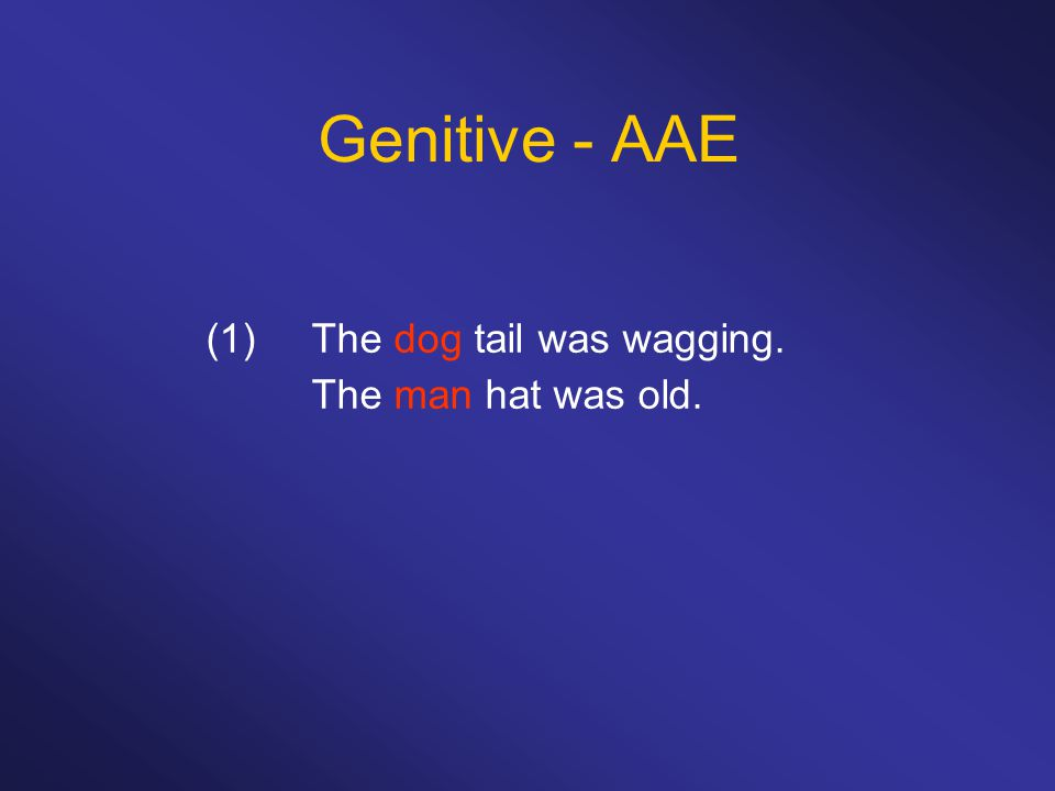 Genitive - AAE (1)The dog tail was wagging. The man hat was old.