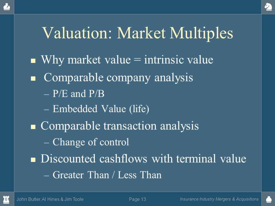 John Butler, Al Hines & Jim Toole Insurance Industry Mergers & Acquisitions Page 13 Valuation: Market Multiples Why market value = intrinsic value Comparable company analysis – P/E and P/B – Embedded Value (life) Comparable transaction analysis – Change of control Discounted cashflows with terminal value – Greater Than / Less Than