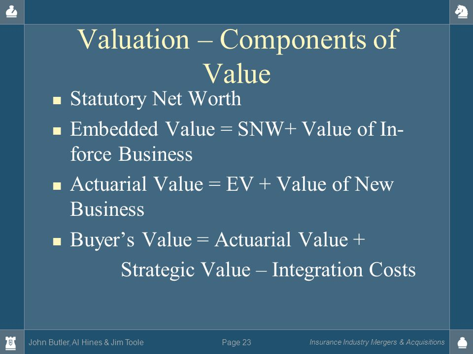 John Butler, Al Hines & Jim Toole Insurance Industry Mergers & Acquisitions Page 23 Valuation – Components of Value Statutory Net Worth Embedded Value = SNW+ Value of In- force Business Actuarial Value = EV + Value of New Business Buyer's Value = Actuarial Value + Strategic Value – Integration Costs