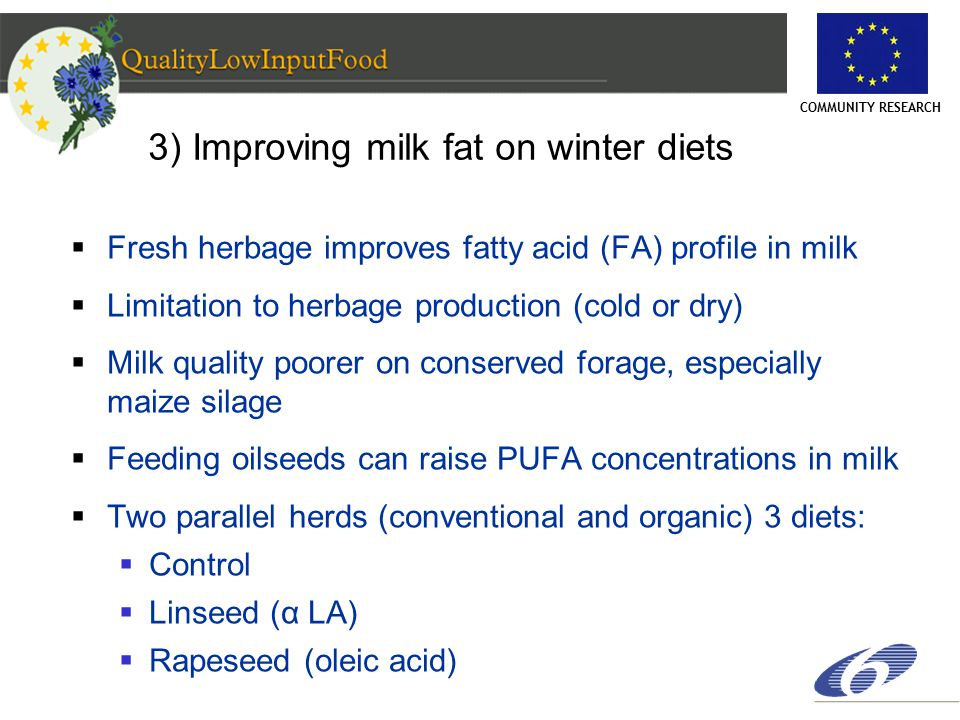 COMMUNITY RESEARCH 3) Improving milk fat on winter diets  Fresh herbage improves fatty acid (FA) profile in milk  Limitation to herbage production (cold or dry)  Milk quality poorer on conserved forage, especially maize silage  Feeding oilseeds can raise PUFA concentrations in milk  Two parallel herds (conventional and organic) 3 diets:  Control  Linseed (α LA)  Rapeseed (oleic acid)