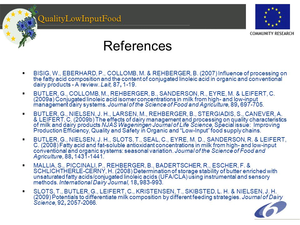 COMMUNITY RESEARCH References  BISIG, W., EBERHARD, P., COLLOMB, M.