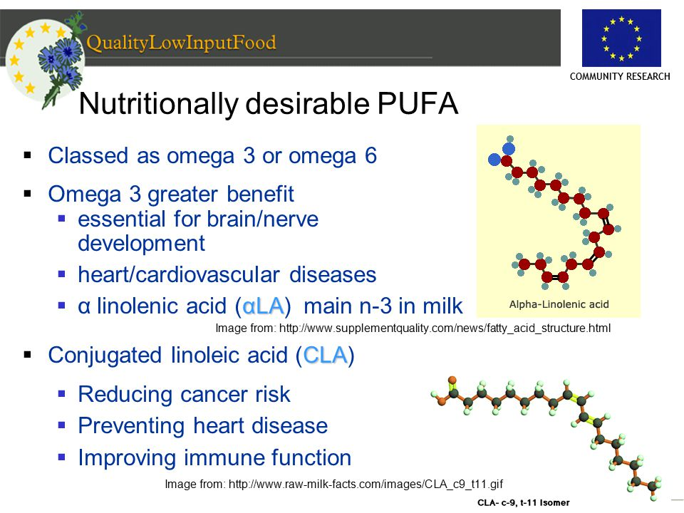 COMMUNITY RESEARCH Nutritionally desirable PUFA  Classed as omega 3 or omega 6  Omega 3 greater benefit  essential for brain/nerve development  heart/cardiovascular diseases αLA  α linolenic acid (αLA) main n-3 in milk Image from: http://www.supplementquality.com/news/fatty_acid_structure.html CLA  Conjugated linoleic acid (CLA)  Reducing cancer risk  Preventing heart disease  Improving immune function Image from: http://www.raw-milk-facts.com/images/CLA_c9_t11.gif