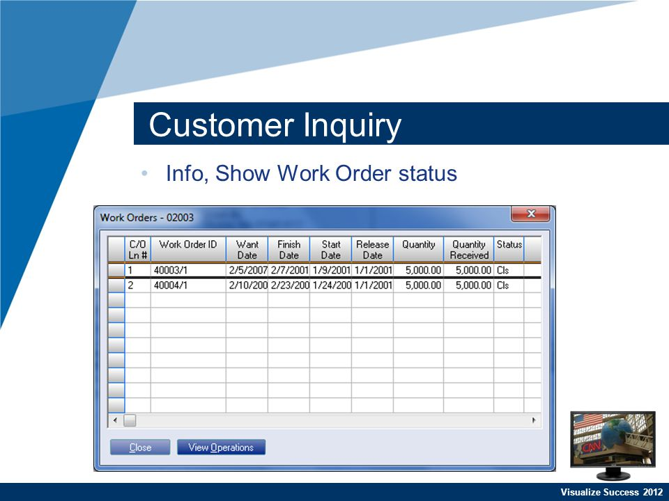 Visualize Success 2012 Customer Inquiry Info, Show Work Order status
