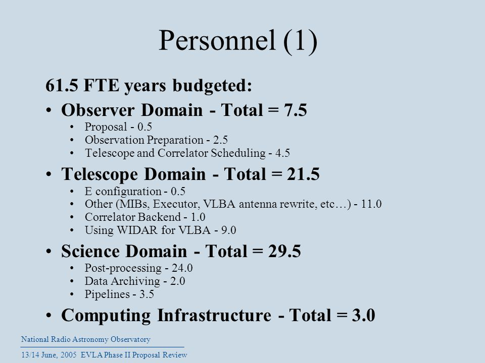 National Radio Astronomy Observatory 13/14 June, 2005 EVLA Phase II Proposal Review Personnel (1) 61.5 FTE years budgeted: Observer Domain - Total = 7.5 Proposal - 0.5 Observation Preparation - 2.5 Telescope and Correlator Scheduling - 4.5 Telescope Domain - Total = 21.5 E configuration - 0.5 Other (MIBs, Executor, VLBA antenna rewrite, etc…) - 11.0 Correlator Backend - 1.0 Using WIDAR for VLBA - 9.0 Science Domain - Total = 29.5 Post-processing - 24.0 Data Archiving - 2.0 Pipelines - 3.5 Computing Infrastructure - Total = 3.0