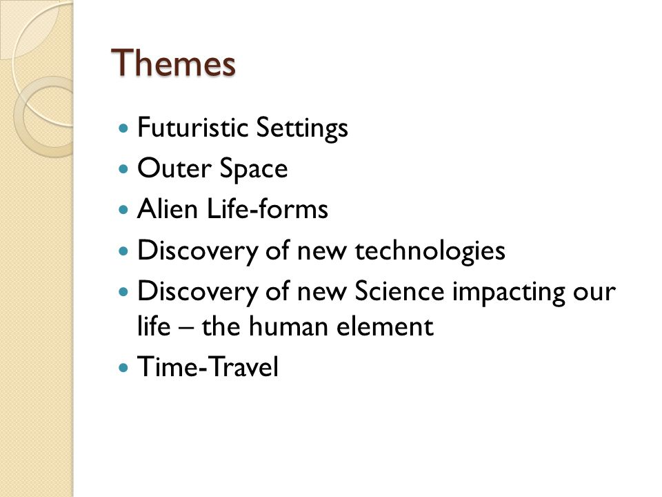 Themes Futuristic Settings Outer Space Alien Life-forms Discovery of new technologies Discovery of new Science impacting our life – the human element Time-Travel