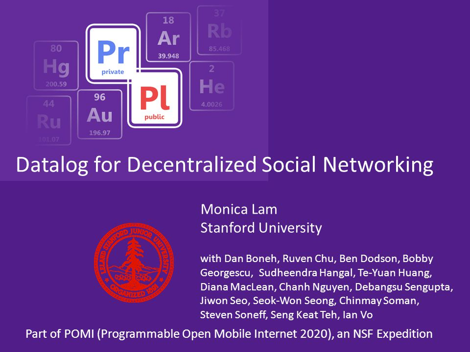 Outline Why decentralized social networking? Overall architecture Datalog Access control